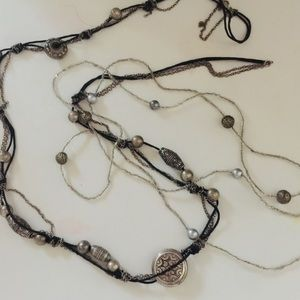 Two statement necklaces. Great together or alone.